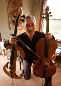 Gideon Freudmann with cellos