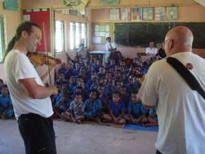 Aaron teaching school children in Fiji.